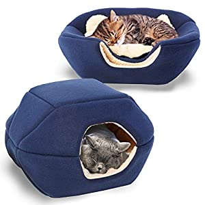 Bow Meow PREMIUM Pet Bed/Cave, Cat Bed and Cave, Small Dog Bed, 2-in-1 foldable, soft, warm, washable pet bed with a…