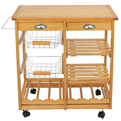 ZENSTYLE 4-Tier Rolling Kitchen Island Trolley Utility Wood Kitchen Storage Cart Microwave Cart w/Towel Rack, Drawers, Shelves, 6 Bottle Wine Rack
