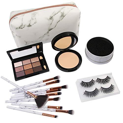 Honhui MAANGE Hot Sale 10Pc Makeup Brush Set,1Pc Black Cosmetic Bag,1Pc Foundation, 1 Pc Eyeshadow Tray, 1Pc Makeup Brush Dry Cleaning Box, a Box of False Eyelashes (2 pairs)