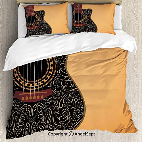 Black Folk Guitar Set - AngelSept Bedding 3-Piece Set Duvet Cover Set,Clipped Guitar with Vintage Floral Folk Ornaments Musician Hobbies Decorative,Full Size,1 Quilt Cover 2 Pillow Shams,Pale Orange Black Maroon