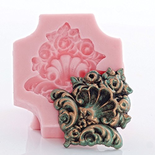 (Medallion Scroll Work Silicone Mold Food Safe Fondant, Chocolate, Candy, Cream Cheese Mint, Resin, Polymer Clay, Craft, Jewelry Food Mold.)