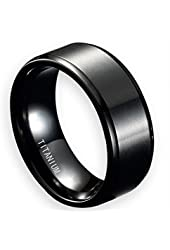 EZreal Men's Noble Black 8mm Titanium Wedding Rings with Step Edges Matte Finish Center Comfort Fit Wedding Bands Engagement Rings for Couples Personalized Keepsake Rings