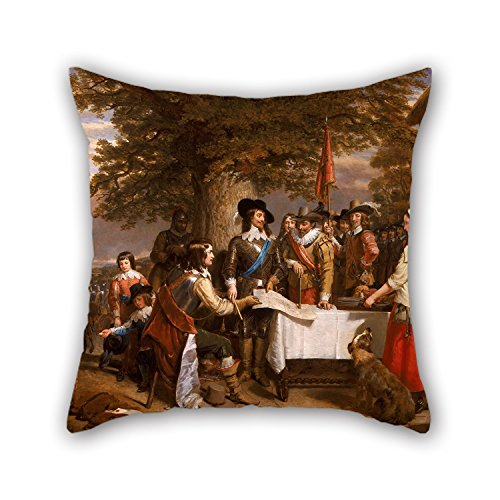 Hill Ornament - 20 X 20 Inches / 50 By 50 Cm Oil Painting Charles Landseer - The Eve Of The Battle Of Edge Hill, 1642 Pillow Covers ,twin Sides Ornament And Gift To Gril Friend,bedroom,car Seat,son,home,kitchen