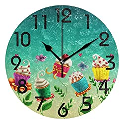 Naanle Fairy Tale Cup Cakes Flowers Print Round Wall Clock Decorative, 9.5 Inch Battery Operated Quartz Analog Quiet Desk Clock for Home,Office,School