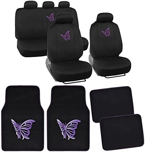 BDK 13pc Butterfly Purple Combo Auto Interior Gift Set : Seat Covers and Matching Carpet Floor Mats
