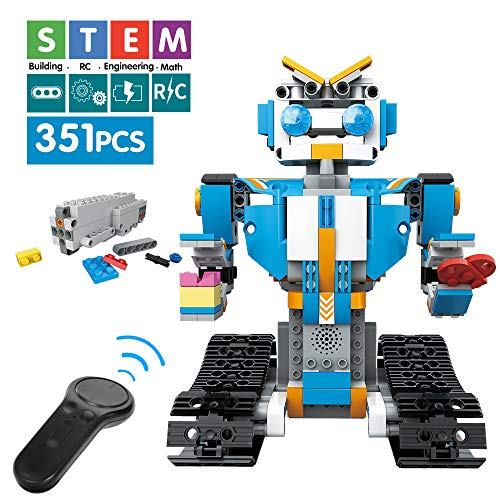 Mould King Remote Control Building Block Robot Educational Electric RC Robot Bricks STEM Toys with LED Intelligent Charging Gift for Boys Girls Age of 6,7,8,9-14 Year Old (Blue)