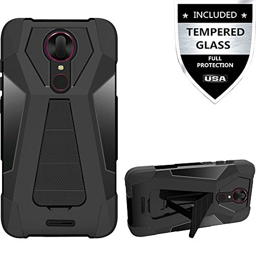 T-Mobile REVVL Plus Case With Tempered Glass Screen Protector,IDEA LINE(TM) Hybrid Hard Shockproof Slim Fit Shockproof Protector Cover With Kickstand - - Phones Mobile T