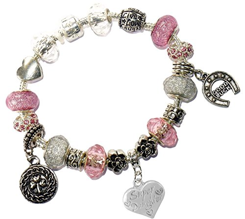 Charm Buddy Super Daughter Pink Silver Crystal Good Luck Pandora Style Bracelet With Charms Gift Box by Charm Buddy (Image #1)