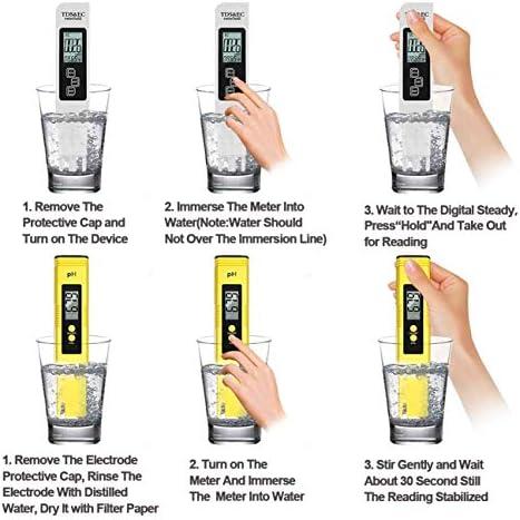 Probador de Medidor PH TDS Tester TDS EC Temperatura PH Medición de Agua Digital para Agua Potable Doméstica 6