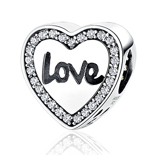 MallDou Jewelry Angel Wing Heart Shape Charm Gold Plated Bead Charms for Pandora Charms Bracelet Necklace (Love Heart Charm) (Love Pandora Bracelet)