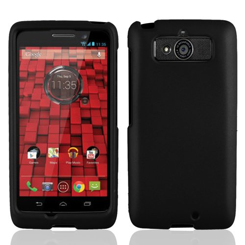 LF 4 in 1 Bundle - Black Hard Case Cover, Stylus Pen, Screen Protector & Screen Wiper for Verizon Motorola Droid Mini XT1030 ()