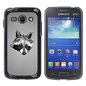 LECELL -- Funda protectora / Cubierta / Piel For Samsung Galaxy Ace 3 GT-S7270 GT-S7275 GT-S7272 -- Black & White Friendly Raccoon --