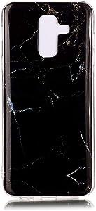 Ycloud Suave TPU Silicona Funda para Samsung Galaxy A6+ 2018 / A6 Plus 2018 Smartphone, Diseño de Mármol Ligera Delgado Cubierta Trasera Anti-arañazos Protectora Carcasa (Negro)