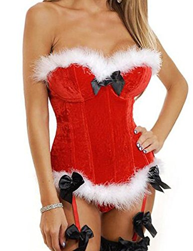 Costume Party Invitation Wording For Adults (Eternatastic Women's Christmas Corset Santa Costume Bustier Overbust Corset Lingerie Red L)