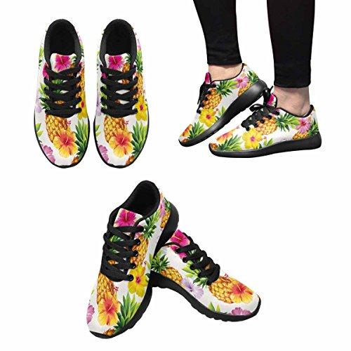 Interessante Donna Da Jogging Corsa Sneaker Leggero Andare Facile A Piedi Comfort Sportivo Scarpe Da Ginnastica Hawaiian Ananas E Ibisco Fiori Multi 1
