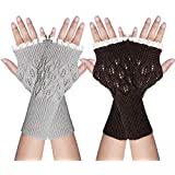 YSense 2 Pairs Womens Winter Warm Hand Crochet Knit Thumb Hole Fingerless Arm Warmers Gloves (C-Light Grey & Coffee)