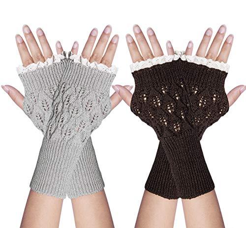 YSense 2 Pairs Womens Winter Warm Hand Crochet Knit Thumb Hole Fingerless Arm Warmers Gloves (C-Light Grey & Coffee)