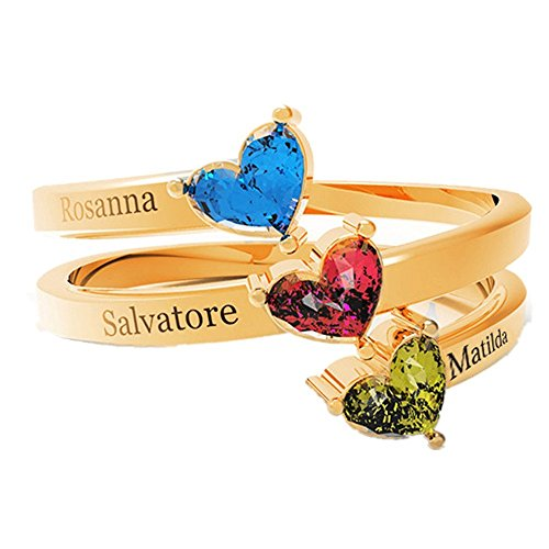 Price comparison product image Amandasessom Personalized Engrave Jewelry 3 Birthstone Mothers Ring 925 Sterling Silver 3 Names Ring Gift for Mother Day Gold 6.5
