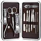 GEHARTY Nail Clippers, Manicure Pedicure Tools Set, 15PCS Stainless Steel Professional Nail Clipper Travel & Grooming Kit Scissor Eyebrow Tweezer Ear Pick for for Men and Women Facial, Cuticle and Nail Care With Portable Travel Case (Black)