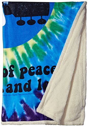 Liquid Blue Men's Woodstock Peace and Love Spiral Tie Dye Warm Throw Blanket, multi, 50