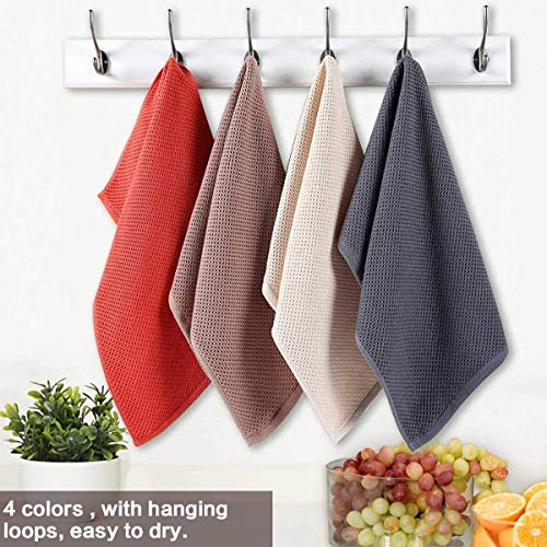 MSECVOI 100% Cotton Waffle Weave Kitchen Dish Cloths,Bamboo Fiber Cotton Dish Towels,Ultra Soft Absorbent Quick Drying Dish Towels, 13x13 Inches, 4-Pack (Mixed Color)