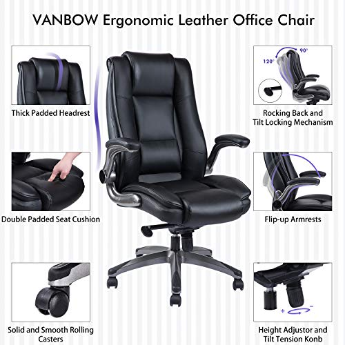 VANBOW High Back Leather Office Chair - Adjustable Tilt Angle and Flip-up Arms Executive Computer Desk Chair, Thick Padding for Comfort and Ergonomic Design for Lumbar Support, Black by VANBOW (Image #1)