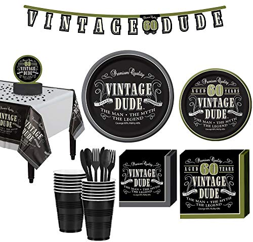 Party City Vintage Dude 60th Birthday Party Kit for 16 Guests, 167 Pieces, Includes Plates, Napkins, and -