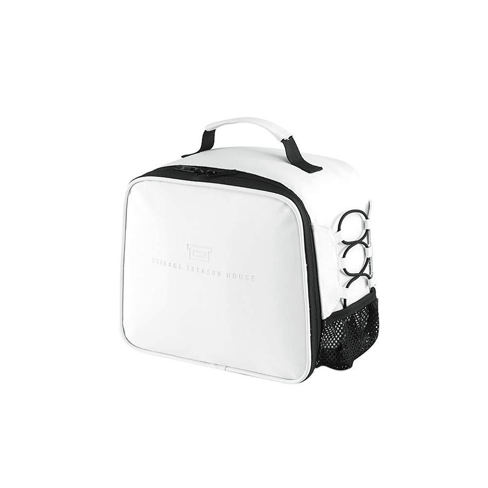LAAT Bolsa de Almuerzo Infantil con Bolsa de Red Aislamiento de Papel de Aluminio Bolsa de Picnic Multifuncional para Exterior o Trabajo o Playa Blanco