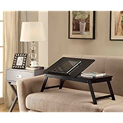Black Wooden Lap Desk, Flip Top with Drawer, Foldable Legs for Laptop