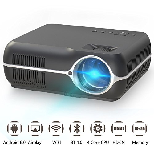 Home Video Projector,Portable Android 6.0 Wireless Home Theater Projector 4200 Lumens WXGA Resolution Support Full HD 1080P Movie Video Games with WIFI HDMI USB VGA AV Audio Out