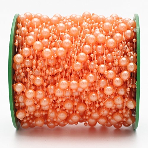 Orange Flower Beads - 60meters/roll Mixed 3/8mm Artificial Pearls Beads Chain Garland Flowers For Wedding Bridal Bouquet (Orange)