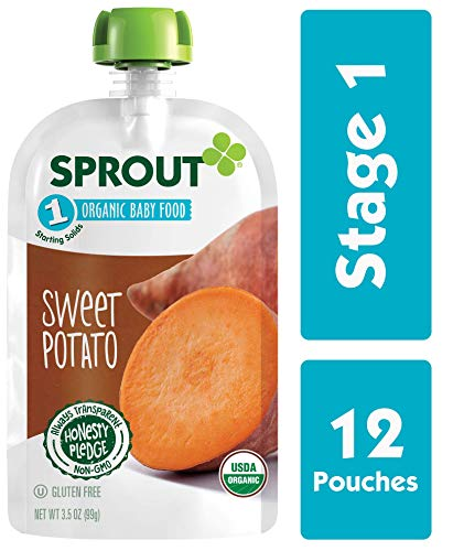 Sprout Organic Stage 1 Baby Food Pouches, Sweet Potato, 3.5 Ounce (Pack of 12) (1 Baby Food Stage Organic Veggies)