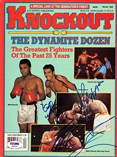 "Mike Tyson, Julio Cesar Chavez &""Smooth Jose Napoles Autographed Magazine Cover #Q90597 PSA/DNA Certified"