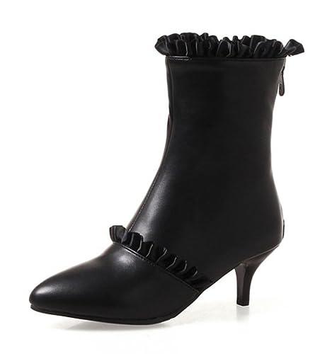 SHOWHOW Damen Spitze Kitten Heels Kurzschaft Stiefel Stiefelette Schwarz 43 EU 8TJddRW1