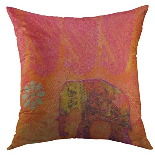 Mugod Decorative Throw Pillow Cover for Couch Sofa,Orange India Collage Painting with Indian Elephant Artwork Is Created By Myself Red Acrylic Gold Home Decor Pillow Case 18x18 ()