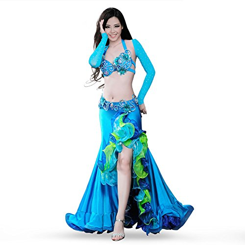 ROYAL SMEELA Belly Dance Costume Set for Women Belly Dancing Skirts Bra and Belt Sleeves Professional Suit 4pcs Mermaid Skirt