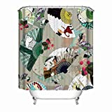 KANATSIU Cartoon Pattern Fans Folwers in Japanese Style Art Shower Curtain 12 plactic Hooks,100% Made Polyester,Mildew Resistant & Machine Washable,Width x Height is 72X72