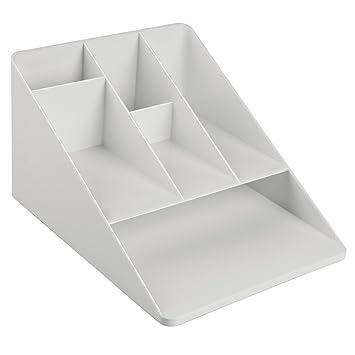 InterDesign Linus Organizador de escritorio con 6 divisiones, sistema archivador para oficina para escritorio en plástico, gris claro: Amazon.es: Hogar