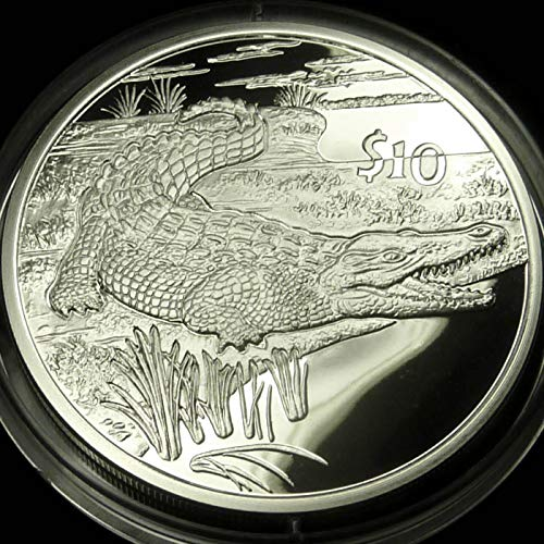 CROCODILE Sterling Silver Proof Coin in Box with Certificate of Authenticity - 2005 Sierra Leone $10 Dollars - African Animals Series