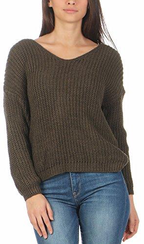 Unica maglione aperta sulla malito Taglia Donna schiena Oliva maglia 7340 p8SaqfBwx