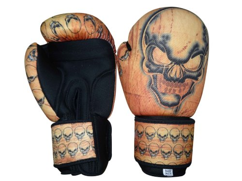 Woldorf USA Washable Light Orange Boxing Bag Gloves with imprint skull 10oz
