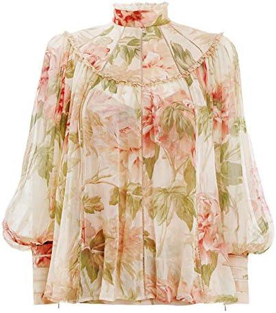 SETGVFG Imprimir Verano Mujer Camisa Cuello Alto Manga Linterna Encaje Patchwork Vintage Blusa Femenina: Amazon.es: Deportes y aire libre