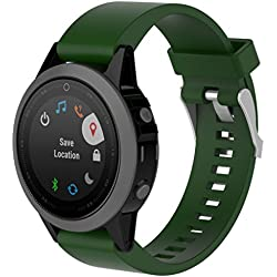 Garmin Fenix 5S Watch Band, Forthery Smart Watch Silicone Replacement Strap Wrist Band Watchband (Army Green)