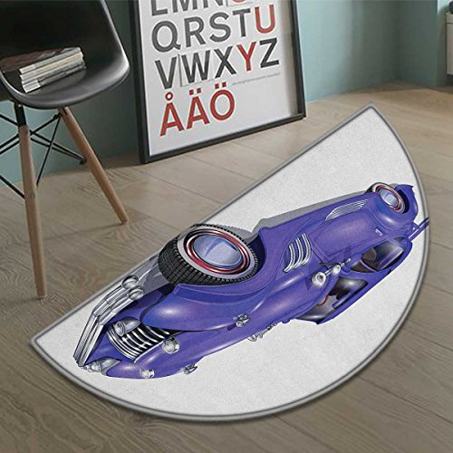 haommhome Cars Half round doormat outside Custom Vehicle with Aerodynamic Design for High Speeds Cool Wheels Hood Spoilers Bathroom Mat for tub Non Slip Violet Blue size:31.5