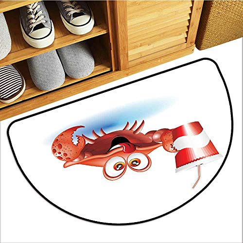 Fashion Door mat Crabs Thirsty Marine Animal with Drink on a Paper Cup with Straw Summertime Theme Easy to Clean Carpet W24 xL16 Vermilion White Blue