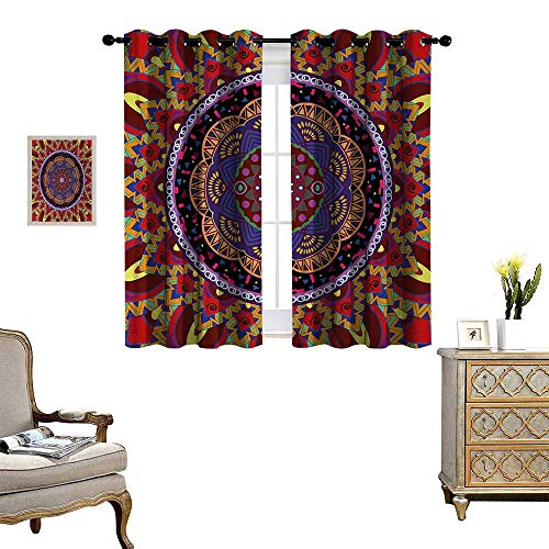 Anyangeight Mandala Room Darkening Wide Curtains Vintage Style Wedding Invitation Card with Mandala Motif Flower Illustration Customized Curtains W72 x L72 Maroon and Red