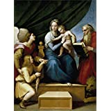 high quality polyster Canvas ,the Best Price Art Decorative Canvas Prints of oil painting 'Raphael The Holy Family with Raphael Tobias and Saint Jerome or the Virgin with a Fish 1513 14 ', 16 x 21 inch / 41 x 55 cm is best for Kitchen decor and Home decor and Gifts