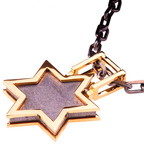 Solid 18K White Gold Star of David Pendant For Men Pave Necklace Black Two Tone David Shield Kabbalah Judaica Steampunk Chain by Doron Merav