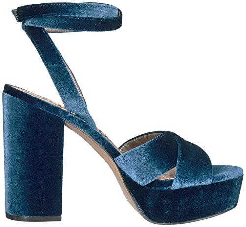 Sam Women's Blue Velvet Jewel Edelman Heeled Sandal Mara 7Bx7v6r