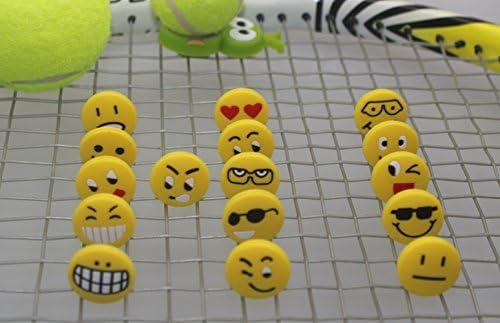16pcs//lot WZDOM Funny Emoticon Soft Silicone Tennis Dampeners Tennis Shock Absorber Emoji Easy Use Tennis dampeners for All Tennis Player
